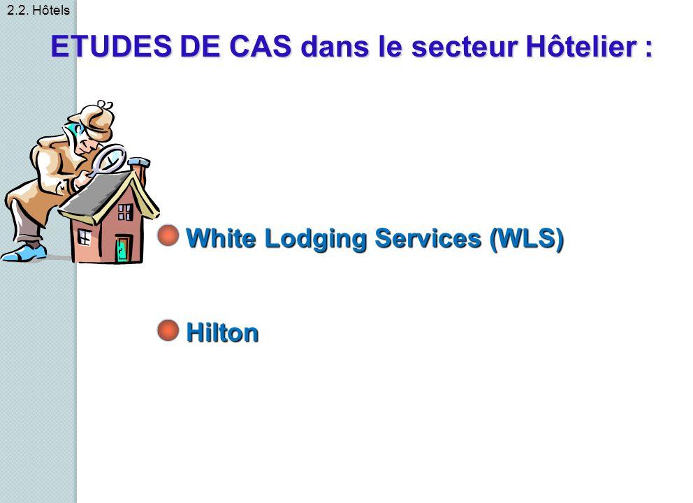 White Lodging Services (WLS) Hilton ETUDES DE CAS dans le secteur Hôtelier : 2.2. Hôtels