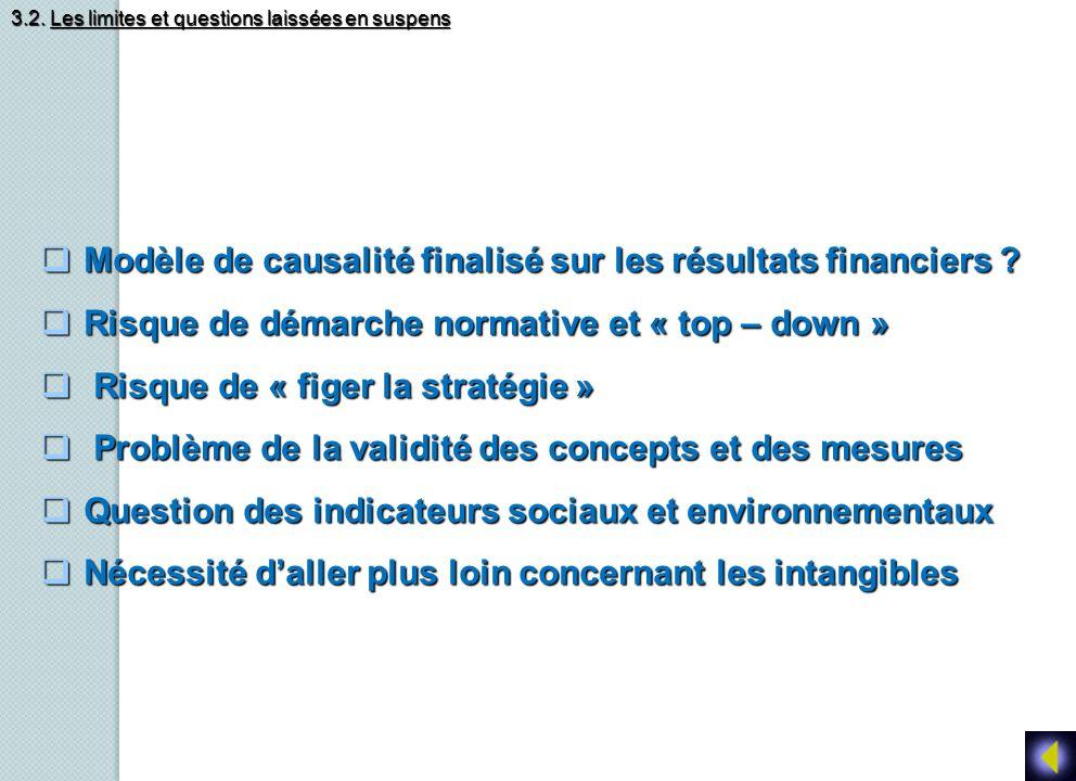 Modèle de causalité finalisé sur les résultats financiers ? Modèle de causalité finalisé sur les résultats financiers ? Risque de démarche normative e