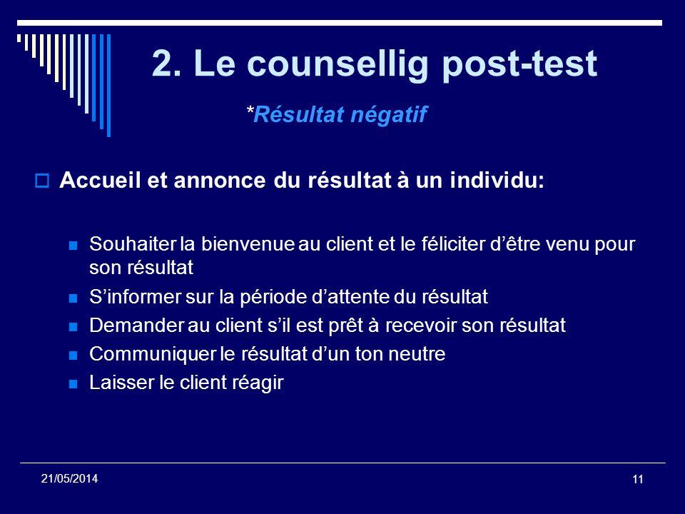 11 21/05/2014 2. Le counsellig post-test *Résultat négatif Accueil et annonce du résultat à un individu: Souhaiter la bienvenue au client et le félici