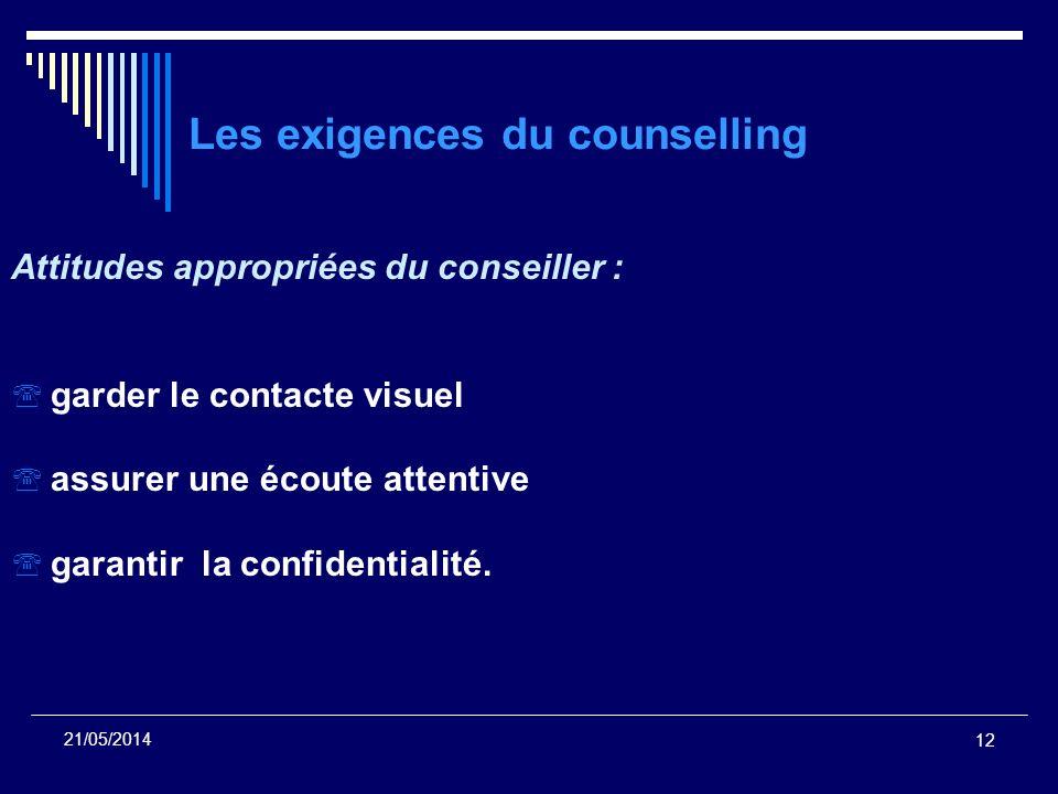 12 21/05/2014 Les exigences du counselling Attitudes appropriées du conseiller : garder le contacte visuel assurer une écoute attentive garantir la co
