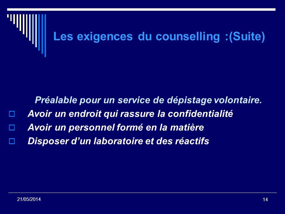 14 21/05/2014 Les exigences du counselling :(Suite) Préalable pour un service de dépistage volontaire. Avoir un endroit qui rassure la confidentialité