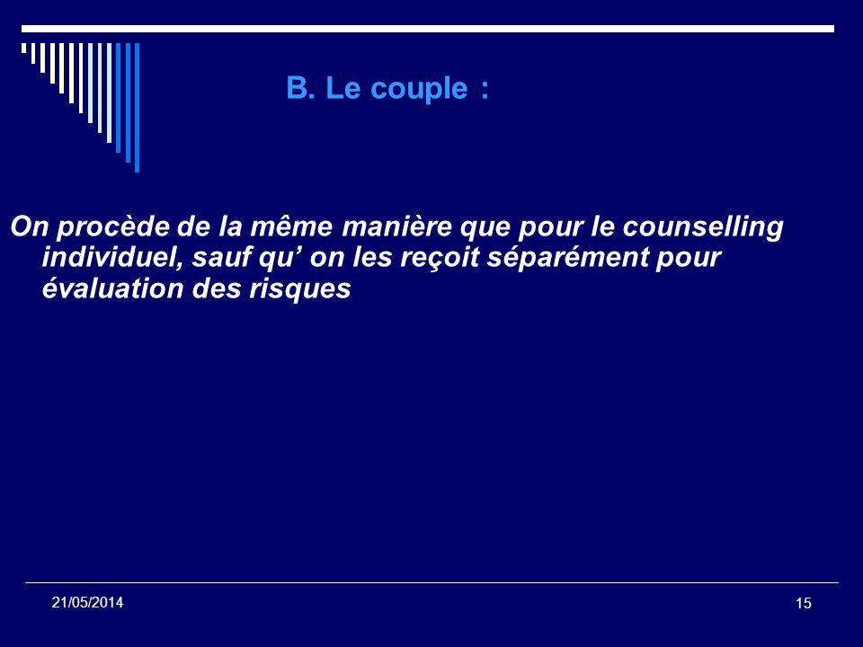 15 21/05/2014 B. Le couple : On procède de la même manière que pour le counselling individuel, sauf qu on les reçoit séparément pour évaluation des ri