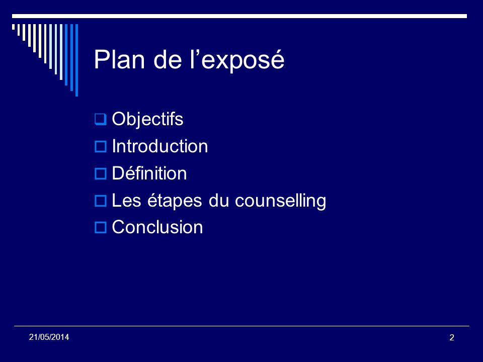 2 Plan de lexposé Objectifs Introduction Définition Les étapes du counselling Conclusion