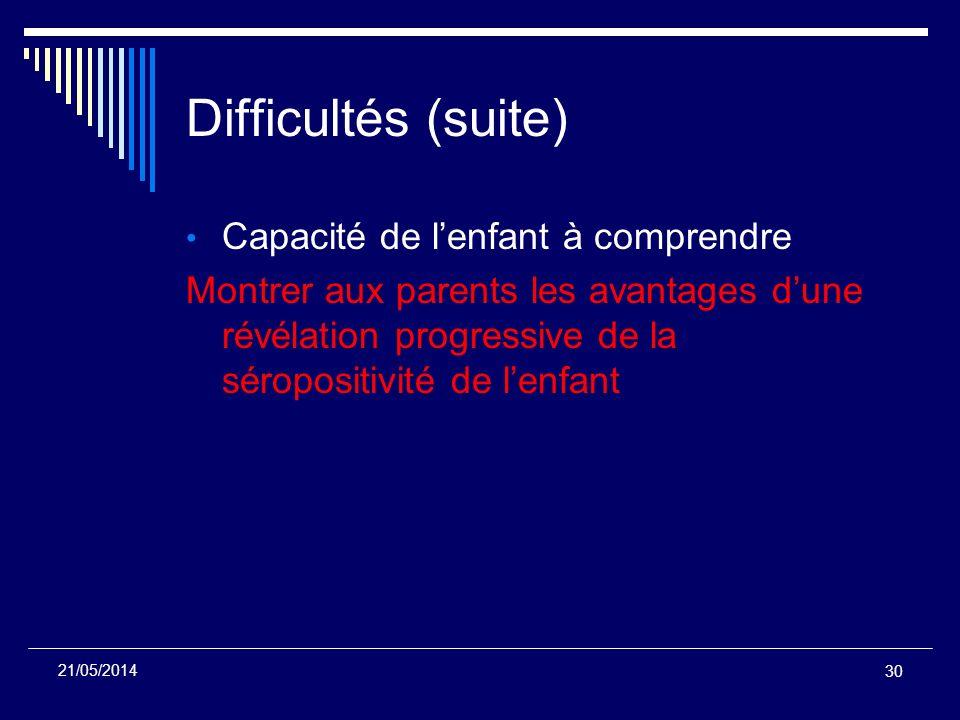 Difficultés (suite) Capacité de lenfant à comprendre Montrer aux parents les avantages dune révélation progressive de la séropositivité de lenfant 30
