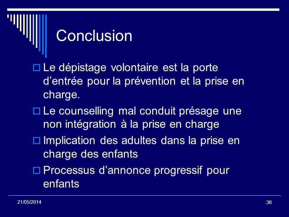 36 21/05/2014 Conclusion Le dépistage volontaire est la porte dentrée pour la prévention et la prise en charge. Le counselling mal conduit présage une
