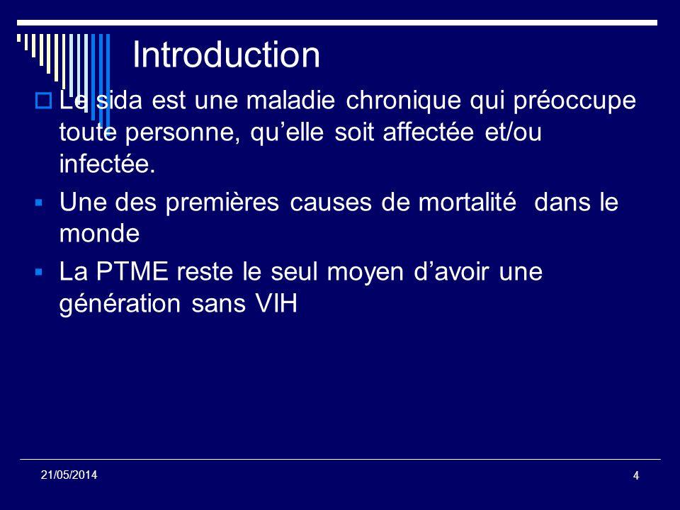 4 Introduction Le sida est une maladie chronique qui préoccupe toute personne, quelle soit affectée et/ou infectée. Une des premières causes de mortal