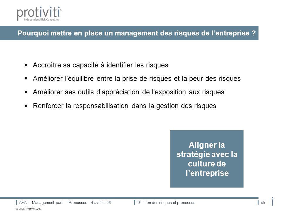 AFAI – Management par les Processus – 4 avril 2006Gestion des risques et processus# © 2006 Protiviti SAS. Pourquoi mettre en place un management des r