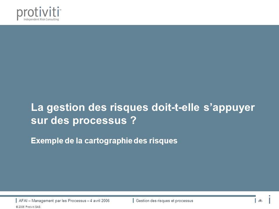 AFAI – Management par les Processus – 4 avril 2006Gestion des risques et processus# © 2006 Protiviti SAS. La gestion des risques doit-t-elle sappuyer
