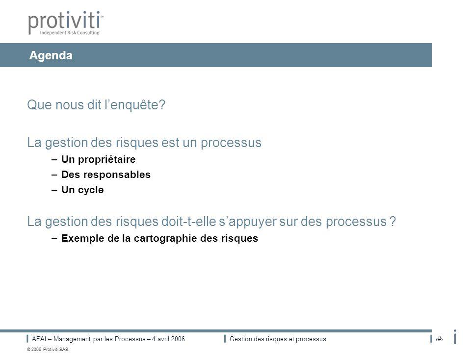 AFAI – Management par les Processus – 4 avril 2006Gestion des risques et processus# © 2006 Protiviti SAS. Agenda Que nous dit lenquête? La gestion des