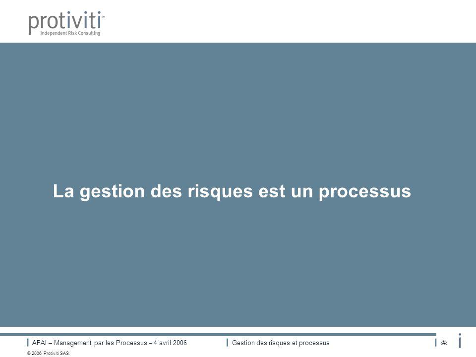 AFAI – Management par les Processus – 4 avril 2006Gestion des risques et processus# © 2006 Protiviti SAS. La gestion des risques est un processus