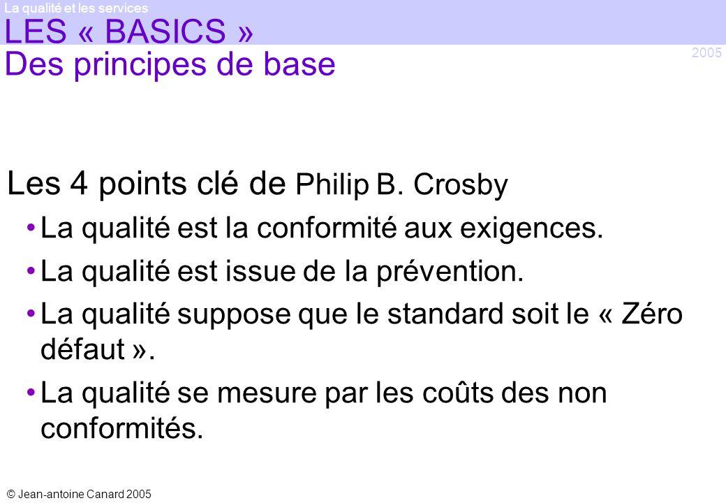 © Jean-antoine Canard 2005 2005 La qualité et les services LES « BASICS » Des principes de base Les 4 points clé de Philip B. Crosby La qualité est la