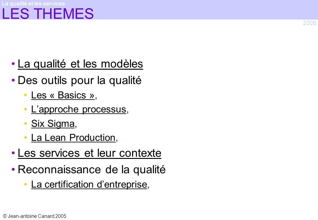 © Jean-antoine Canard 2005 2005 La qualité et les services LES THEMES La qualité et les modèles Des outils pour la qualité Les « Basics »,Les « Basics