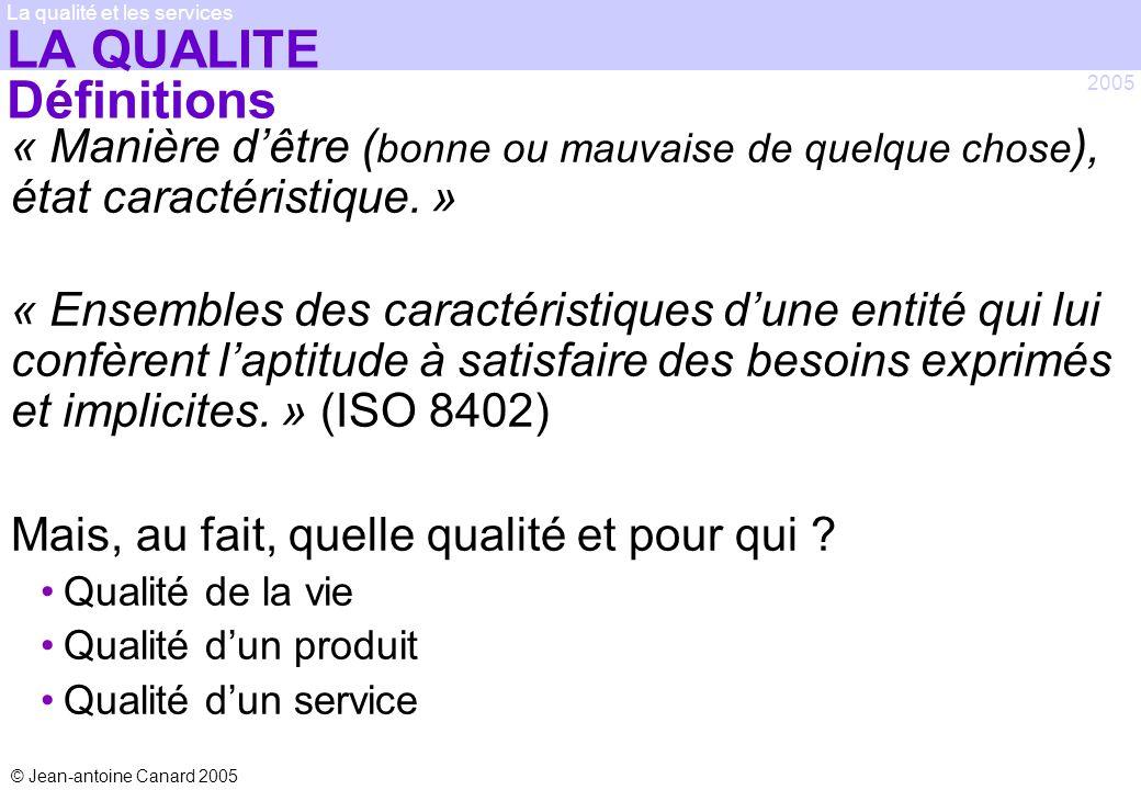 © Jean-antoine Canard 2005 2005 La qualité et les services LA QUALITE Définitions « Manière dêtre ( bonne ou mauvaise de quelque chose ), état caracté