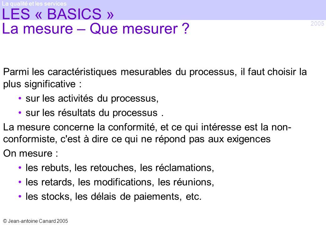 © Jean-antoine Canard 2005 2005 La qualité et les services LES « BASICS » La mesure – Que mesurer ? Parmi les caractéristiques mesurables du processus