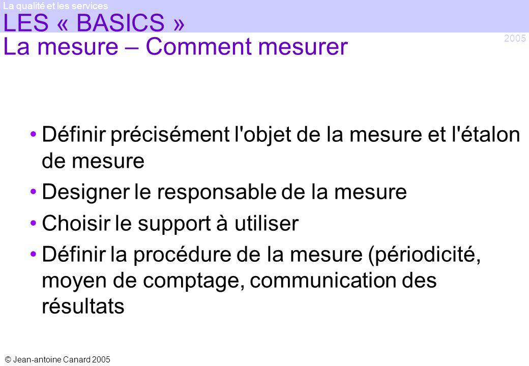 © Jean-antoine Canard 2005 2005 La qualité et les services LES « BASICS » La mesure – Comment mesurer Définir précisément l'objet de la mesure et l'ét