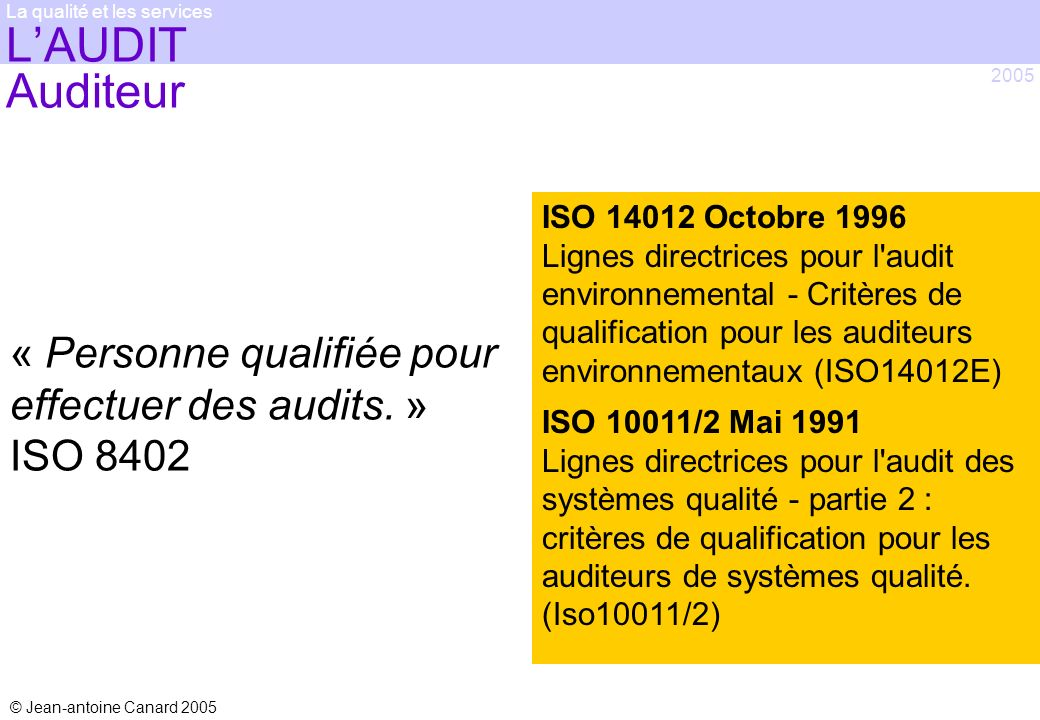 © Jean-antoine Canard 2005 2005 La qualité et les services LAUDIT Auditeur « Personne qualifiée pour effectuer des audits. » ISO 8402 ISO 14012 Octobr