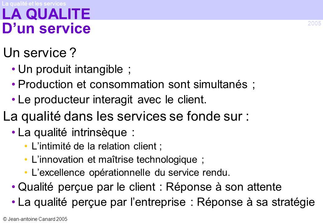 © Jean-antoine Canard 2005 2005 La qualité et les services LA QUALITE Dun service Un service ? Un produit intangible ; Production et consommation sont