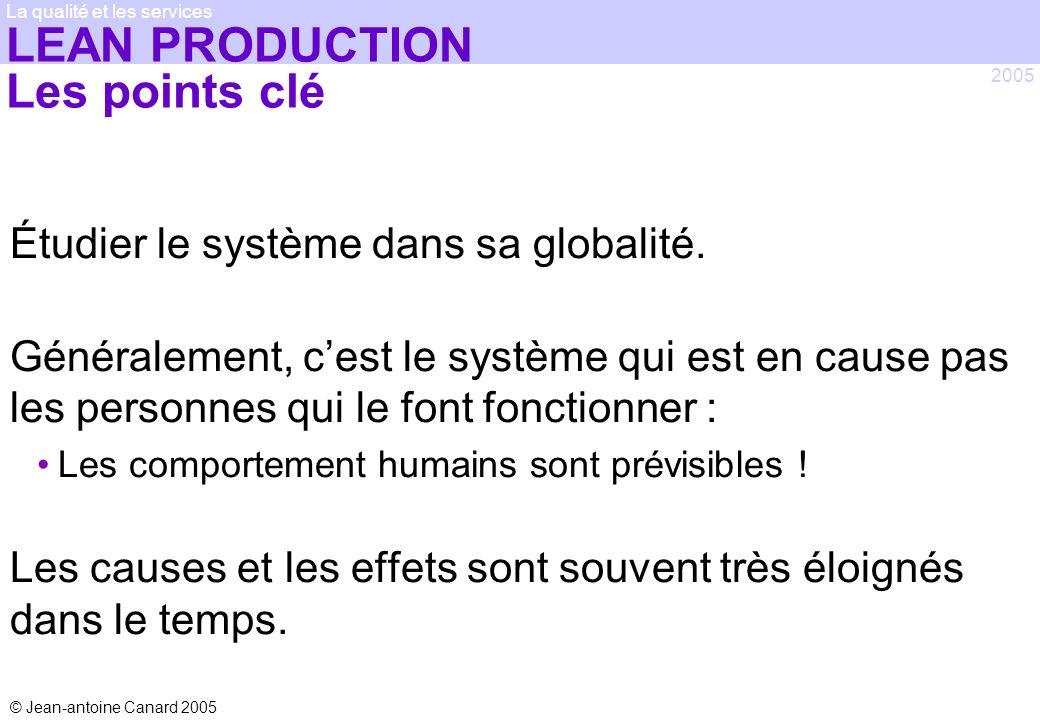 © Jean-antoine Canard 2005 2005 La qualité et les services LEAN PRODUCTION Les points clé Étudier le système dans sa globalité. Généralement, cest le