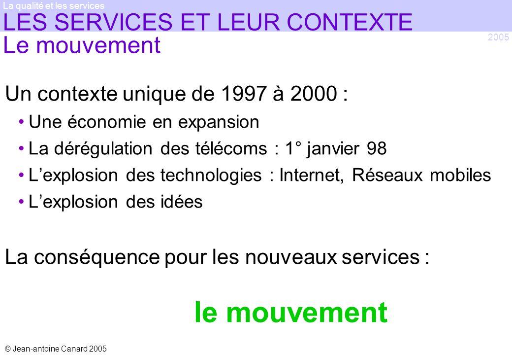 © Jean-antoine Canard 2005 2005 La qualité et les services LES SERVICES ET LEUR CONTEXTE Le mouvement Un contexte unique de 1997 à 2000 : Une économie