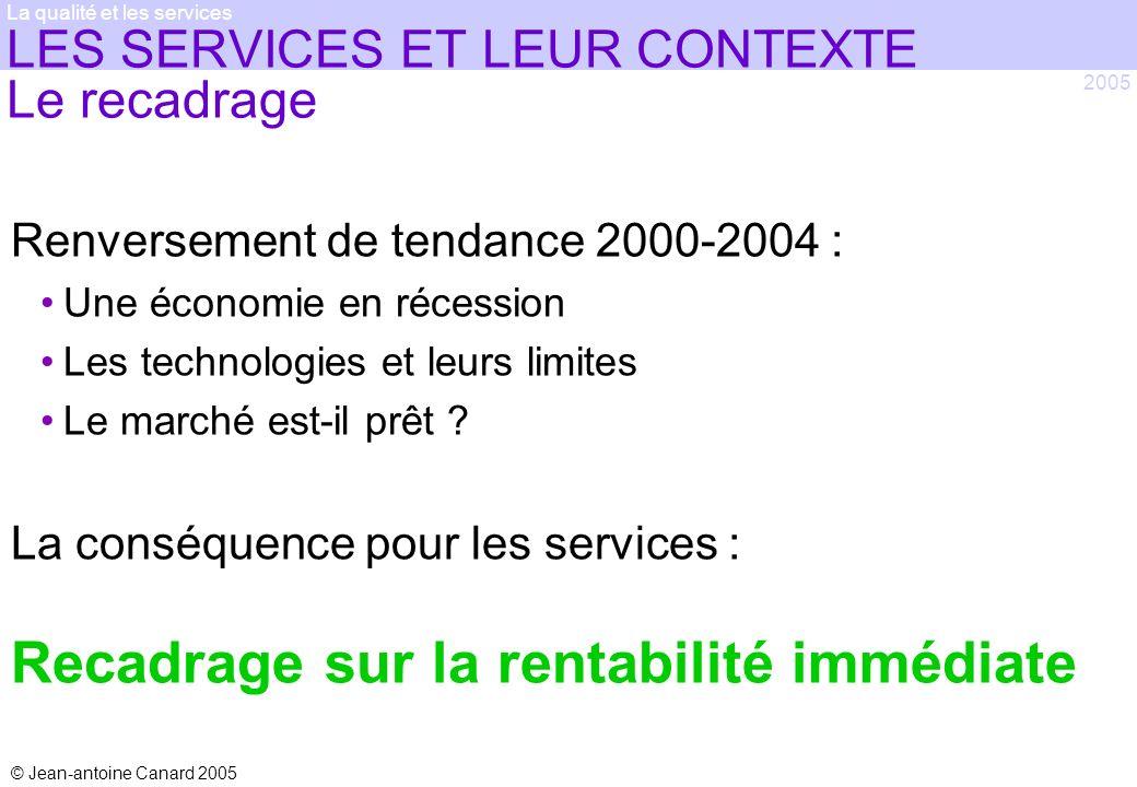 © Jean-antoine Canard 2005 2005 La qualité et les services LES SERVICES ET LEUR CONTEXTE Le recadrage Renversement de tendance 2000-2004 : Une économi