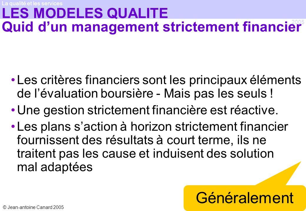 © Jean-antoine Canard 2005 2005 La qualité et les services LES MODELES QUALITE Quid dun management strictement financier Les critères financiers sont