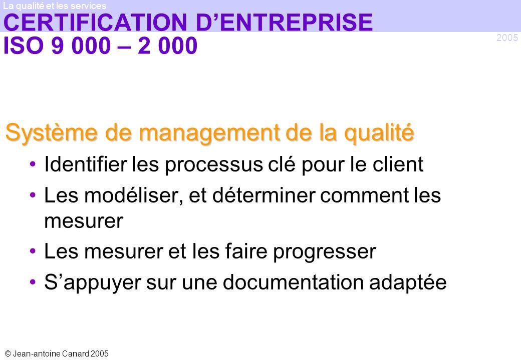 © Jean-antoine Canard 2005 2005 La qualité et les services CERTIFICATION DENTREPRISE ISO 9 000 – 2 000 Système de management de la qualité Identifier
