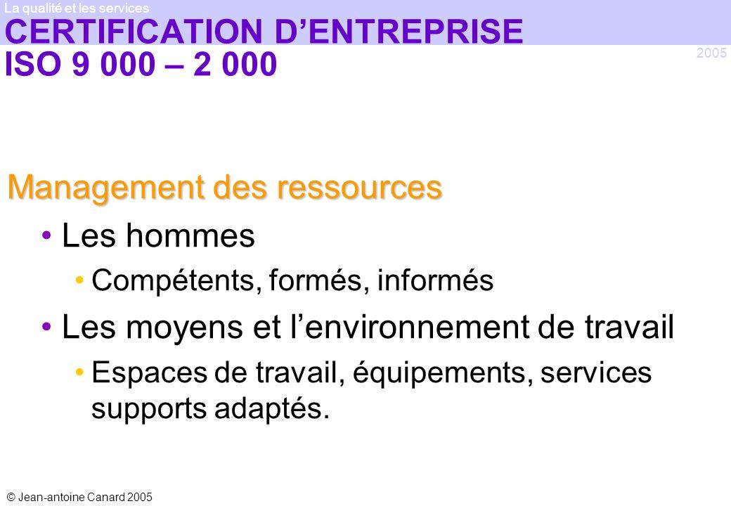© Jean-antoine Canard 2005 2005 La qualité et les services CERTIFICATION DENTREPRISE ISO 9 000 – 2 000 Management des ressources Les hommes Compétents