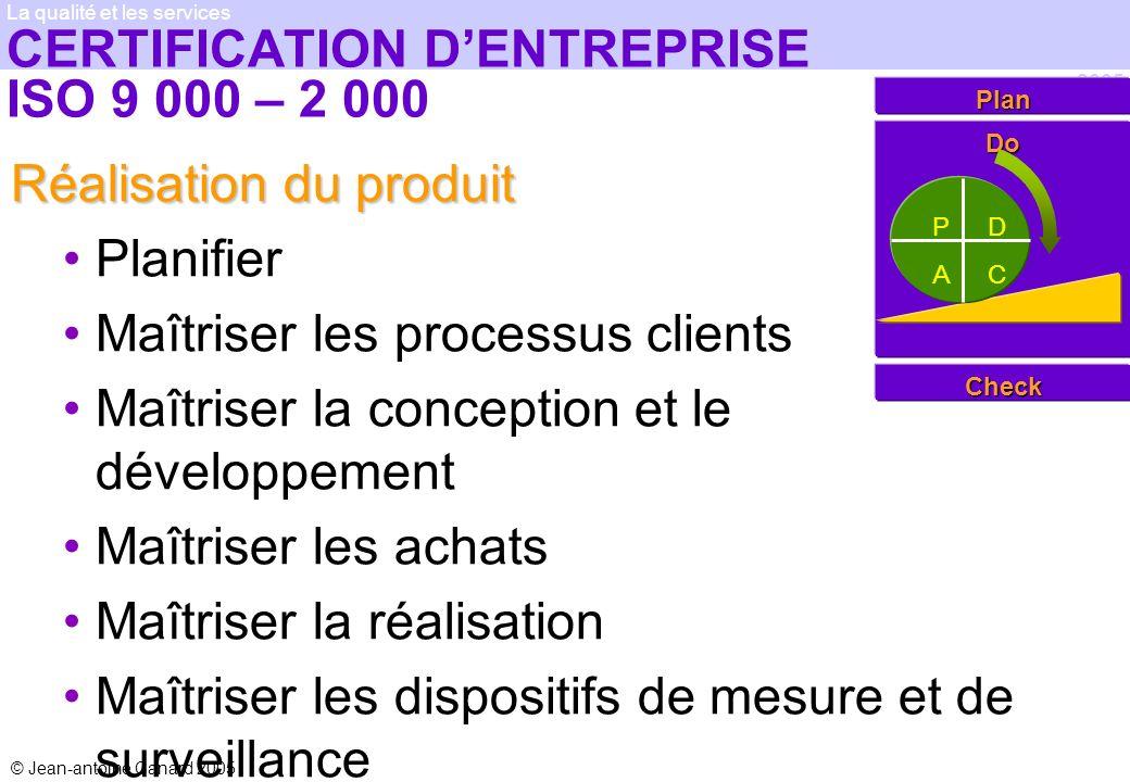 © Jean-antoine Canard 2005 2005 La qualité et les services CERTIFICATION DENTREPRISE ISO 9 000 – 2 000 Réalisation du produit Planifier Maîtriser les