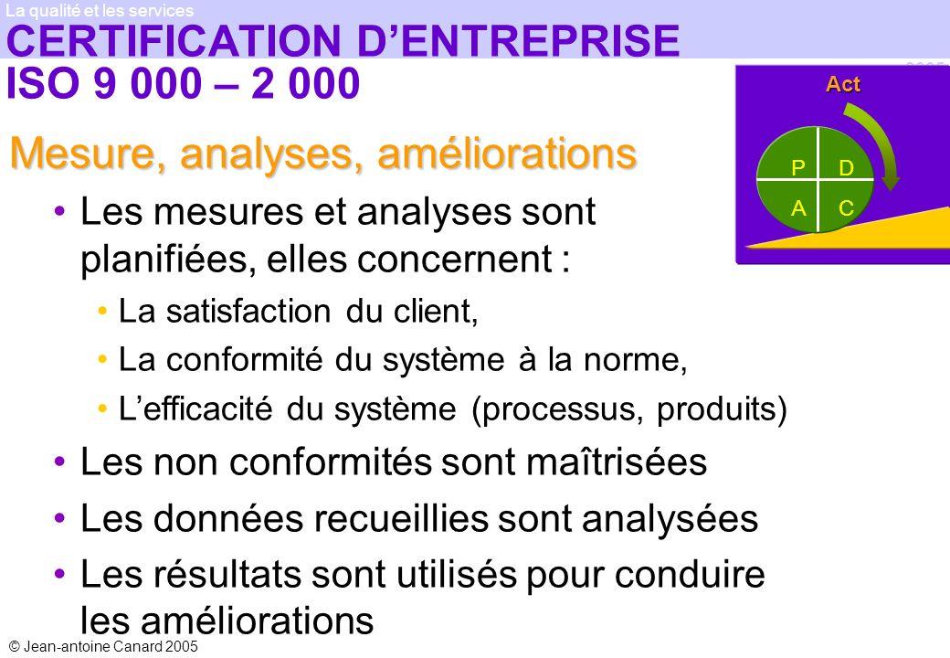 © Jean-antoine Canard 2005 2005 La qualité et les services CERTIFICATION DENTREPRISE ISO 9 000 – 2 000 Mesure, analyses, améliorations Les mesures et
