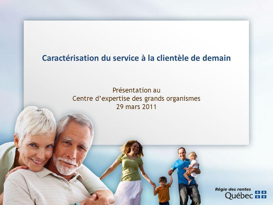 Caractérisation du service à la clientèle de demain Présentation au Centre dexpertise des grands organismes 29 mars 2011