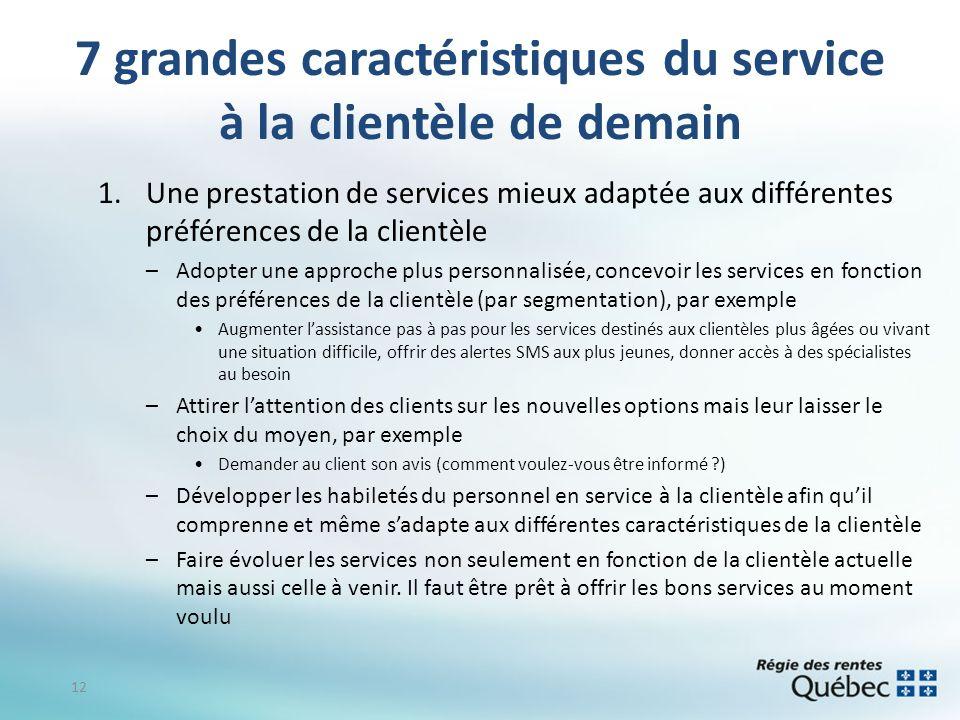 7 grandes caractéristiques du service à la clientèle de demain 1.Une prestation de services mieux adaptée aux différentes préférences de la clientèle
