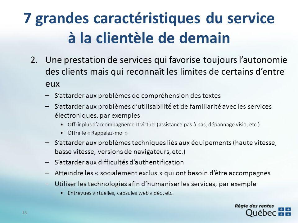7 grandes caractéristiques du service à la clientèle de demain 2.Une prestation de services qui favorise toujours lautonomie des clients mais qui reco