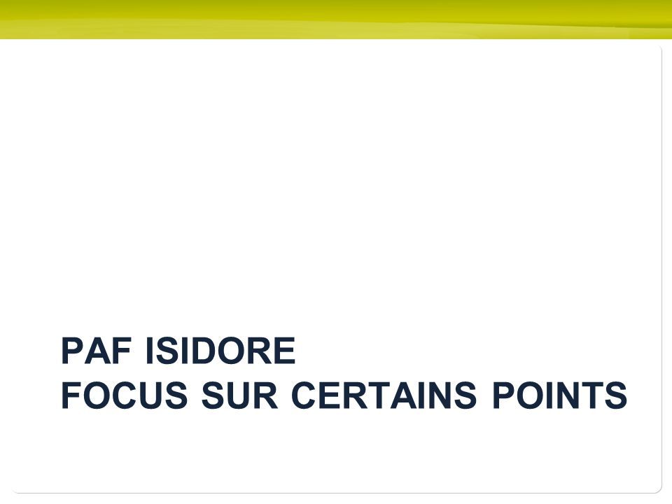 PAF ISIDORE FOCUS SUR CERTAINS POINTS