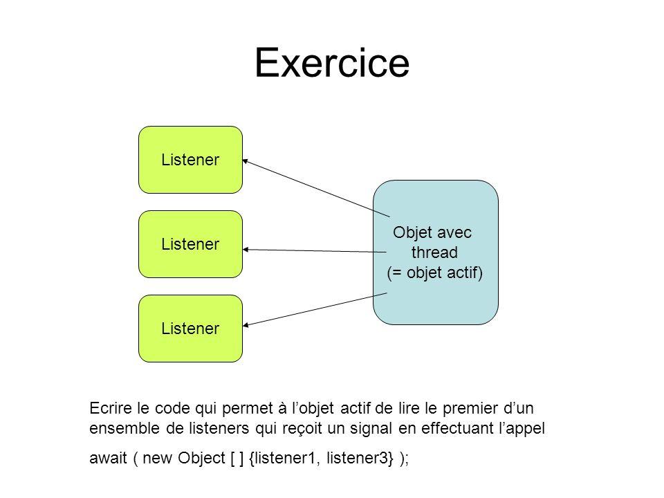 Exercice Listener Objet avec thread (= objet actif) Ecrire le code qui permet à lobjet actif de lire le premier dun ensemble de listeners qui reçoit un signal en effectuant lappel await ( new Object [ ] {listener1, listener3} );