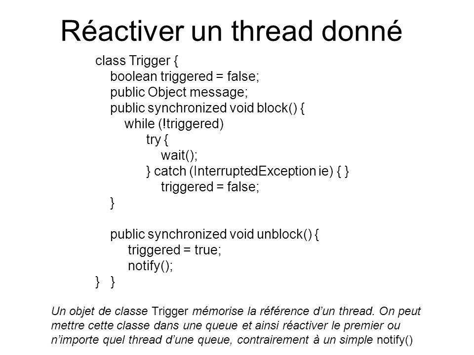 Réactiver un thread donné class Trigger { boolean triggered = false; public Object message; public synchronized void block() { while (!triggered) try { wait(); } catch (InterruptedException ie) { } triggered = false; } public synchronized void unblock() { triggered = true; notify(); } Un objet de classe Trigger mémorise la référence dun thread.