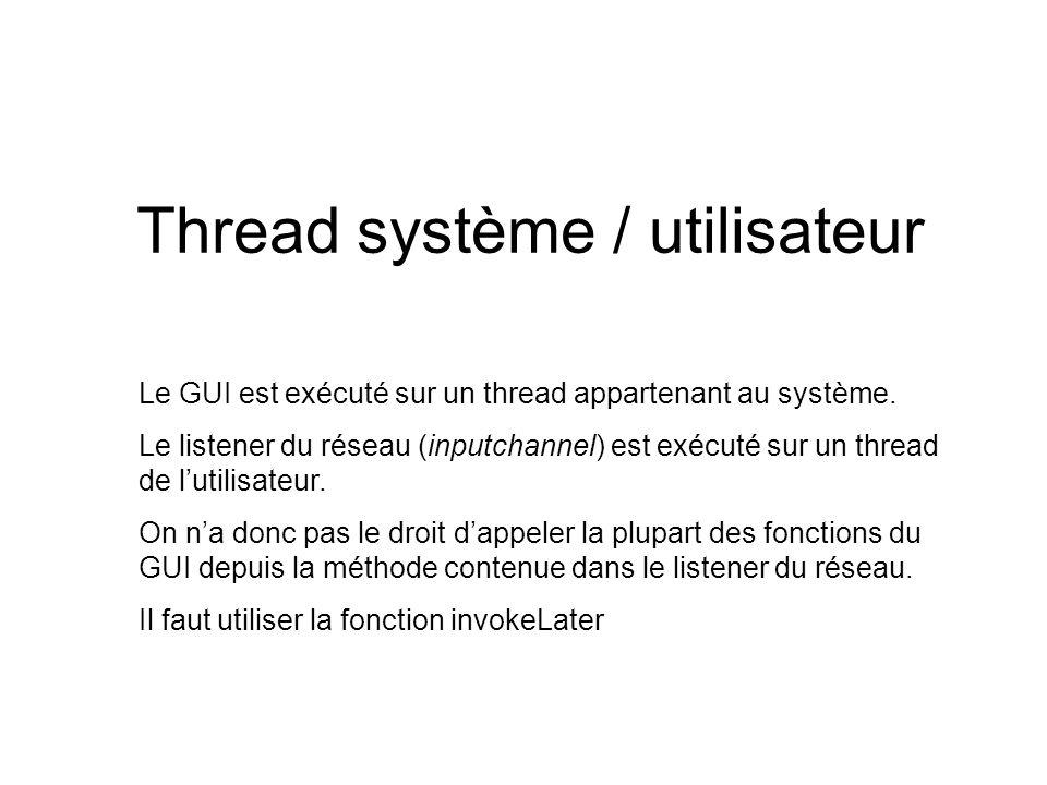 Thread système / utilisateur Le GUI est exécuté sur un thread appartenant au système.