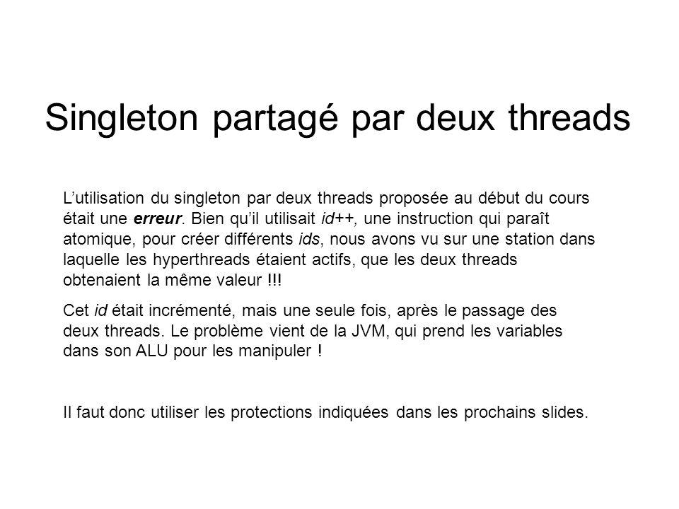 Singleton partagé par deux threads Lutilisation du singleton par deux threads proposée au début du cours était une erreur.
