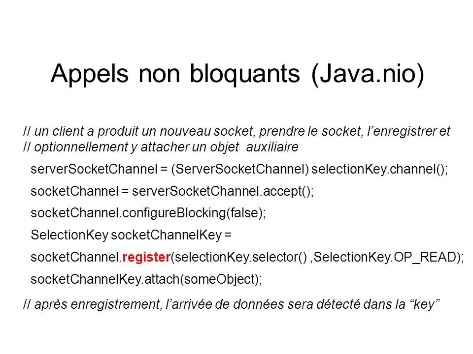 Appels non bloquants (Java.nio) // un client a produit un nouveau socket, prendre le socket, lenregistrer et // optionnellement y attacher un objet auxiliaire serverSocketChannel = (ServerSocketChannel) selectionKey.channel(); socketChannel = serverSocketChannel.accept(); socketChannel.configureBlocking(false); SelectionKey socketChannelKey = socketChannel.register(selectionKey.selector(),SelectionKey.OP_READ); socketChannelKey.attach(someObject); // après enregistrement, larrivée de données sera détecté dans la key