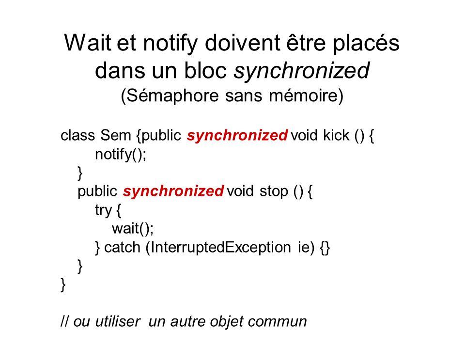 Wait et notify doivent être placés dans un bloc synchronized (Sémaphore sans mémoire) class Sem {public synchronized void kick () { notify(); } public synchronized void stop () { try { wait(); } catch (InterruptedException ie) {} } // ou utiliser un autre objet commun