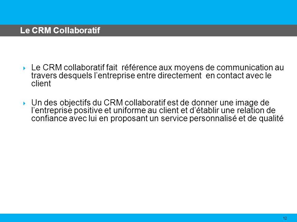 Le CRM Analytique 13 Le CRM analytique consiste à stocker et à analyser la très vaste quantité de données générées en bonne partie par le CRM opérationnel et collaboratif A partir de ces données, les différents outils danalyse se chargent dextraire des connaissances qui servent de support à la prise de décision et permettent daméliorer notamment les processus du CRM opérationnel et collaboratif.