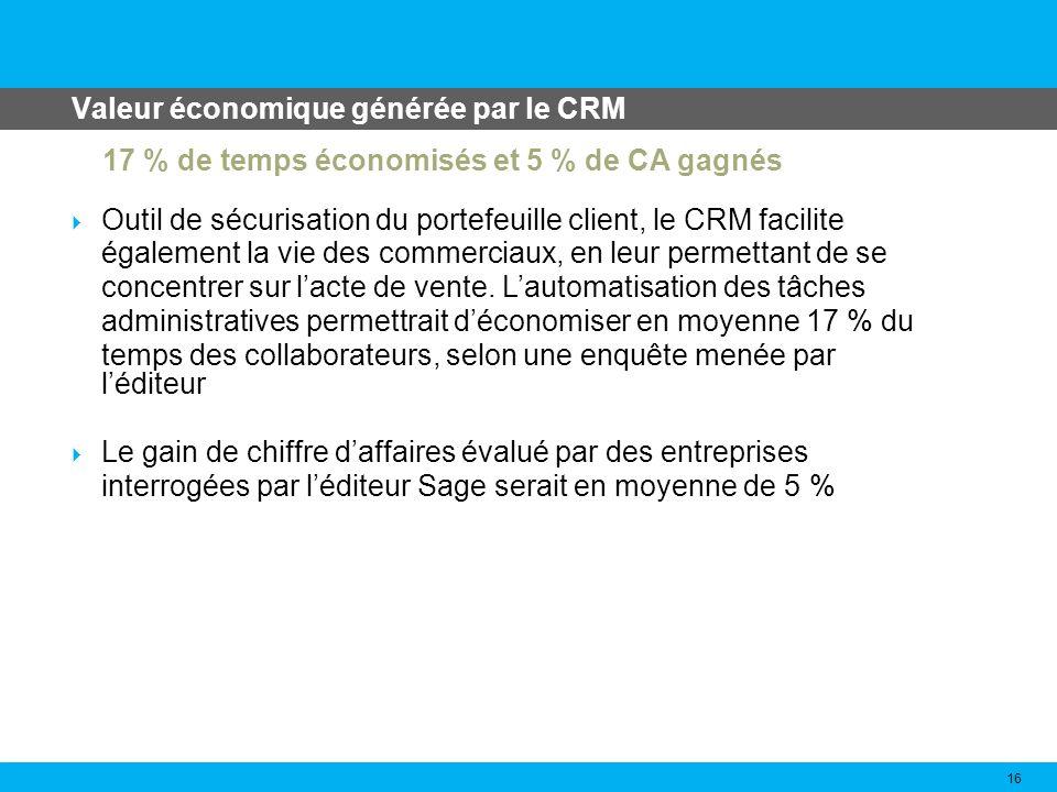 Les avantages des CRM 17 Augmentation des informations client Fidélisation du client Augmentation des ventes Réduction du cycle de vente