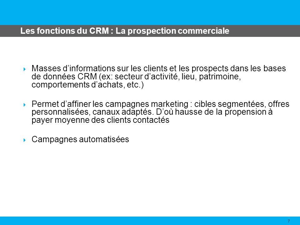 Les fonctions du CRM : La vente 8 Le commercial peut prendre connaissance à tout moment de lhistorique des relations entre le client et lentreprise, des négociations en cours, etc.
