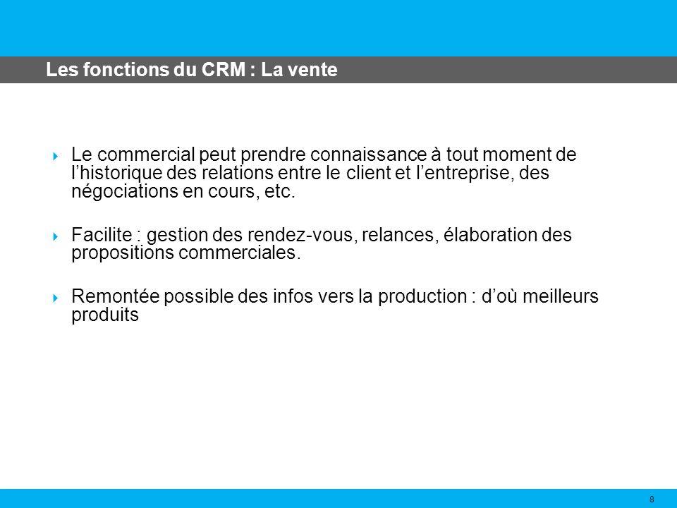 Les fonctions du CRM : La service après vente 9 Accès automatique (ou en quelques clics) des opérateurs des centres dappels à la fiche du client.