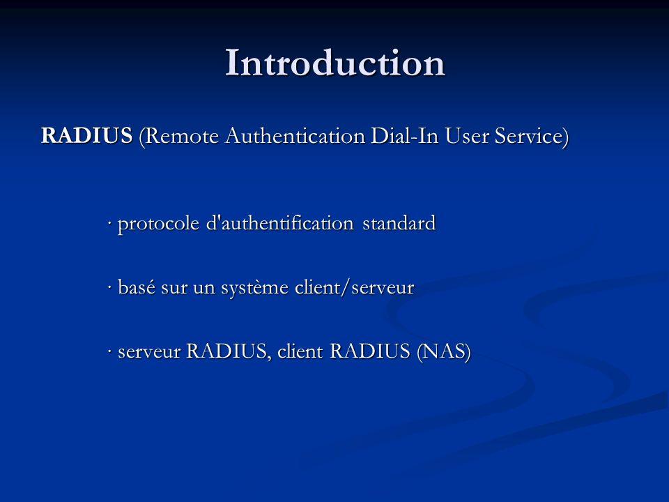 Introduction RADIUS (Remote Authentication Dial-In User Service) protocole d authentification standard protocole d authentification standard basé sur un système client/serveur basé sur un système client/serveur serveur RADIUS, client RADIUS (NAS) serveur RADIUS, client RADIUS (NAS)