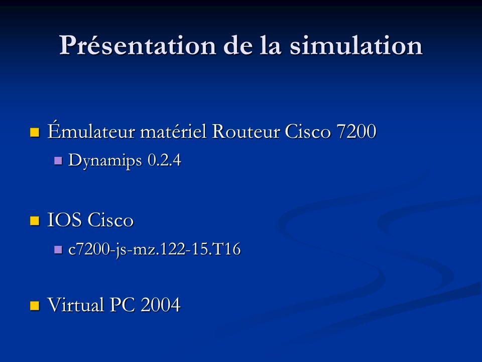 Présentation de la simulation Émulateur matériel Routeur Cisco 7200 Émulateur matériel Routeur Cisco 7200 Dynamips 0.2.4 Dynamips 0.2.4 IOS Cisco IOS Cisco c7200-js-mz.122-15.T16 c7200-js-mz.122-15.T16 Virtual PC 2004 Virtual PC 2004
