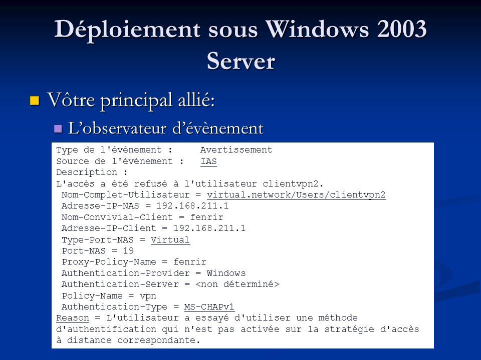 Comparaison des deux plateformes Freeradius (linux): Freeradius (linux): Installation/déploiement « rapide » Installation/déploiement « rapide » Pas de modules supplémentaire « obligatoire » Pas de modules supplémentaire « obligatoire » IAS (Windows 2003 server) IAS (Windows 2003 server) « Usine à gaz »,nombreux modules nécessaires « Usine à gaz »,nombreux modules nécessaires Facilité de gestion des utilisateurs Facilité de gestion des utilisateurs Mise en place rapide de stratégies de connexions Mise en place rapide de stratégies de connexions