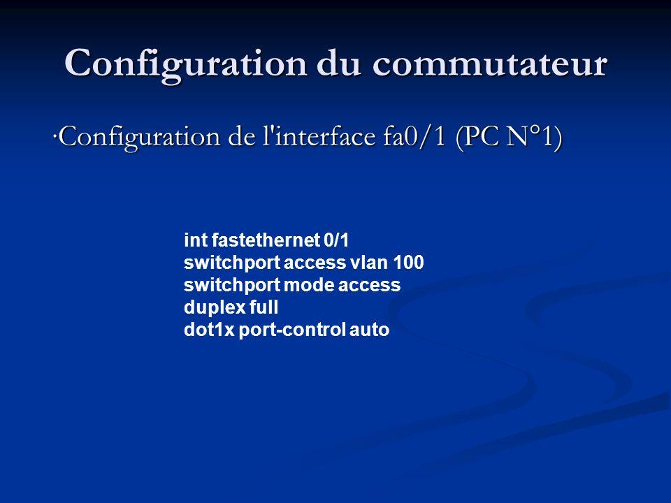 Configuration du commutateur Configuration de l interface fa0/2 (Serveur Radius) int fastethernet 0/2 switchport access vlan 100 switchport mode access duplex full