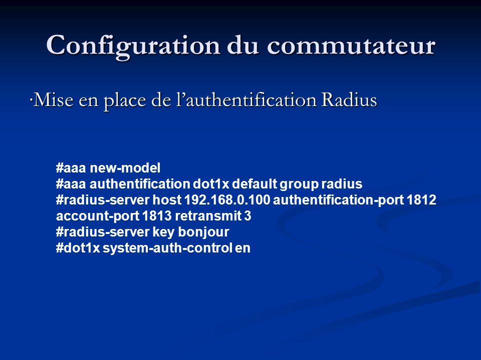 Configuration du commutateur Mise en place de lauthentification Radius #aaa new-model #aaa authentification dot1x default group radius #radius-server host 192.168.0.100 authentification-port 1812 account-port 1813 retransmit 3 #radius-server key bonjour #dot1x system-auth-control en