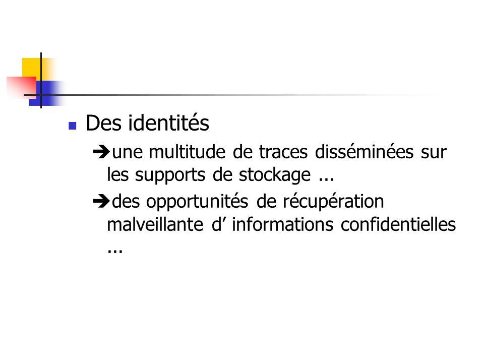 Des identités une multitude de traces disséminées sur les supports de stockage... des opportunités de récupération malveillante d informations confide