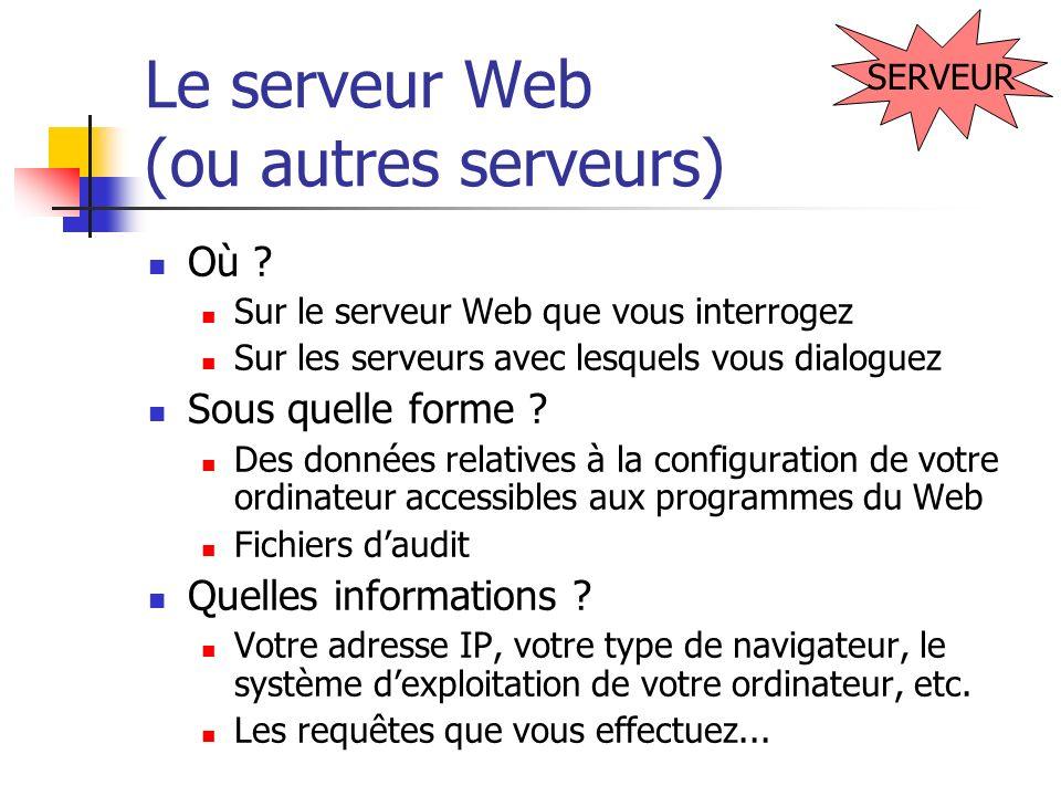 Le serveur Web (ou autres serveurs) Où ? Sur le serveur Web que vous interrogez Sur les serveurs avec lesquels vous dialoguez Sous quelle forme ? Des